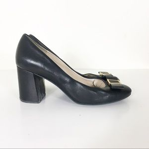 Cole Haan Bow Tie Leather Block Heels